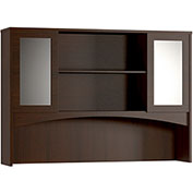 "Mayline® Brighton Double Height Hutch With Glass Doors 72""W x 15""D x 50-1/2""H Mocha"