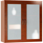 Mayline® Brighton Series Glass Storage Cabinet Cherry