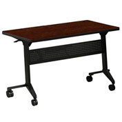 "Mayline® Flip-N-Go Series 72"" x 18"" Rectangular Flip-Top Training Table Mocha"