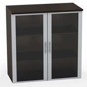 "Mayline® Medina Series 36"" Glass Door Cabinet Mocha"