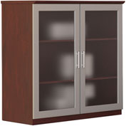 "Mayline® Medina Series 36"" Glass Door Cabinet Mahogany"