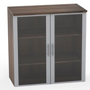 "Mayline® Medina Series 36"" Glass Door Cabinet Textured Brown Sugar"