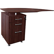 "Mayline® Medina 63""W Left Curved Desk Return With Pencil-Box-File Pedestal Mahogany"