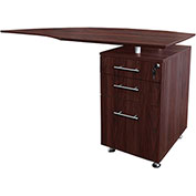 "Mayline® Medina 63""W Right Curved Desk Return With Pencil-Box-File Pedestal Mahogany"