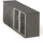 Mayline® Medina Series Low Wall Cabinet with Wood/Glass Door Gray Steel