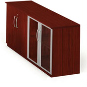 Mayline® Medina Series Low Wall Cabinet with Wood/Glass Door Mahogany