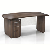 "Mayline® Sterling 66""W Single Pedestal Left Handed Desk w/ Box/Box/File Pedestal Brown Sugar"