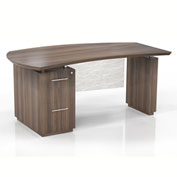 "Mayline® Sterling 66""W Single Pedestal Left Handed Desk w/ File/File Pedestal Brown Sugar"