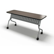 "Mayline® Sync Series 60"" x 18"" Rectangular Flip-Top Training Table Mocha"