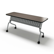 "Mayline® Sync Series 48"" x 24"" Rectangular Flip-Top Training Table Mocha"