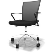 Mayline® Valoré Training Mesh Fabric Height Adjustable Chair w/ Arms & Casters Black