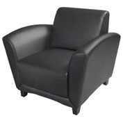 Mayline® Black Reception Chair  - Leather - Santa Cruz Series