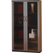 "Mayline® Corsica Series 68"" Wall Cabinet with Glass Doors Sierra Cherry"