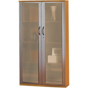 "Mayline® Corsica Series 68"" Wall Cabinet with Glass Doors Golden Cherry"