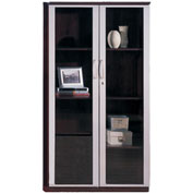 "Mayline® Corsica Series 68"" Wall Cabinet with Glass Doors Mahogany"