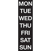 Magnetic Headings Days Of The Week, White on Black
