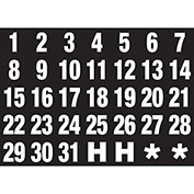 Magnetic Headings Calendar Dates (1-31), White on Black