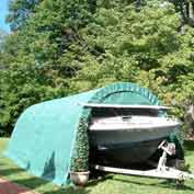 Round Style One Car Garage 12'W x 24'L x 8'H - Green