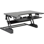"Extra Wide Ergonomic Sit-Stand Desktop Platform - 41.5""W x 25""D - Black"