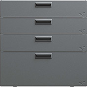 "Hercke Stainless Steel Quadro Storage Drawer QSD302430-S73 - 30"" x 24"" x 30"" Satin Black/Silver Coat"