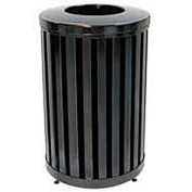 Round-Open Top Trash Can, Black, 32 gal capacity