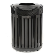 "Round-Open Top Trash Can, Black, 37 gal capacity, 24.5""Dia x 33.5""H"