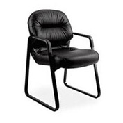 HON® Guest Chair with Pillow Top - Leather - Black - Pillowsoft Series