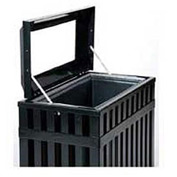 "Rectangular-Open Top Trash Can, Black, 35 gal, 16""W x 29.5""L x 32.5""H"