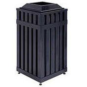 "Square-Open Top Trash Can, Black, 16 gal, 16""Sq x 32.5""H"