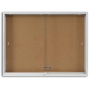 "Marsh Cork 2 Door Enclosed Cork Bulletin Board, 96""W x 48""H, Natural"