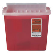 "Medline MDS705153H Biohazard Patient Room Sharps Container, 5 Quart, 10-3/4""W x 4-3/4""D x 11""H, Red"