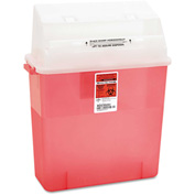"Medline MDS705203H Biohazard Patient Room Sharps Container, 3 Gallon, 14""W x 6""D x 20-1/2""H, Red"