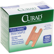 "Curad® Flex Fabric Bandages, Knuckle, 3""L x 1-1/2""W, 100/Box"