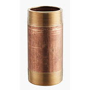 2 In. X 4 In. Lead Free Seamless Red Brass Pipe Nipple - 140 PSI - Sch. 40 - Import