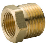 "Brass Yellow Barstock 3/8"" X 1/4"" Hex Bushing Npt Male X Female - Pkg Qty 75"