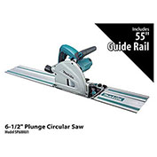 "Makita® SP6000J1 6-1/2"" Plunge Circular Saw with 55"" Guide Rail"