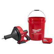 "Milwaukee® 2571-21 M12™ Drain Snake Cleaning Machine Kit W/5/16""x25' Cable & 5 Gal Bucket"