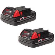 Milwaukee® 48-11-1811 M18™ REDLITHIUM™ Compact Battery (2 Pack)