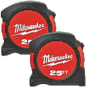 Milwaukee 48-22-5525A 2 Pack 25 Foot Heavy Duty Clip Tape Measures Tools