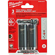 "Milwaukee® 49-66-4417 Shockwave™ 3/8"" Dr Sae Thin Wall Deep Impact Sckt Set 3Pc"