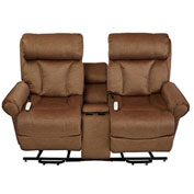 Mega Motion Companion Power Lift and Recliner Loveseat with Center Console - Tobacco