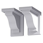 "Mayne® 4821-W Yorkshire Decorative Corbels, White, Vinyl, 8"" x 7"" x 4"", 2/Pack"