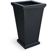 "Mayne® Wellington Tall Planter, 16""L x 16""W x 28""H, Square, Black"