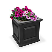 "Mayne® Nantucket Planter, 16""L x 16""W x 16""H, Square, Black"