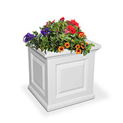 "Mayne® Nantucket Planter, 16""L x 16""W x 16""H, Square, White"