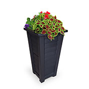"Mayne® Lakeland Tall Planter, 16""L x 16""W x 28-1/2""H, Square, Black"