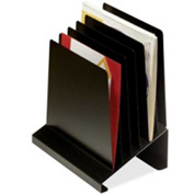 MMF Industries Slanted Vertical Organizer with 6 Compartments Black