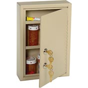 "MMF STEELMASTER® Medical Security Cabinet, 8""W x 2-5/8""D x 12-1/8""H, 2 Key Locks, Sand"