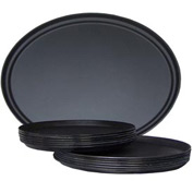 "Molded Fiberglass 27"" Oval Non-Slip Serving Tray 312008, Black, Pkg Qty 6 - Pkg Qty 6"