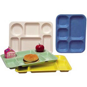 "Molded Fiberglass 6 Compartment School Tray 345008 -15-1/2""L x 11-5/8""W, Pkg Qty 12, Yellow - Pkg Qty 12"